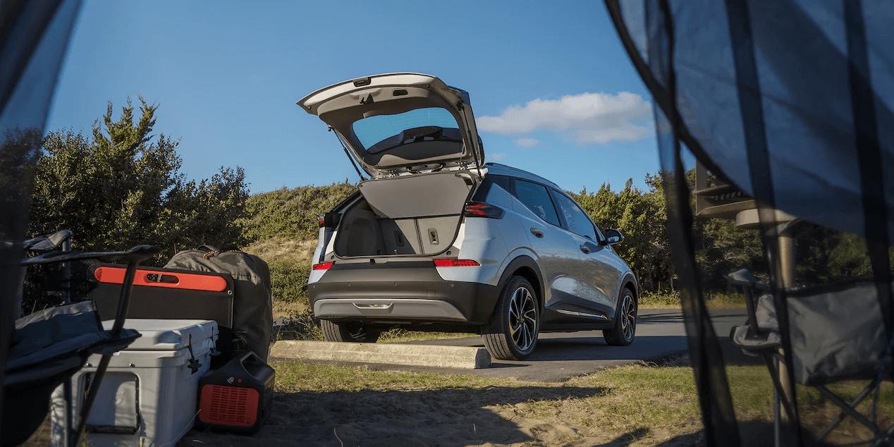2022 Chevrolet Bolt EUV with cargo door open.