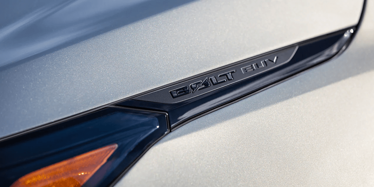 2022 Chevrolet Bolt EUV featuring a close-up view of the Bolt EUV insignia.