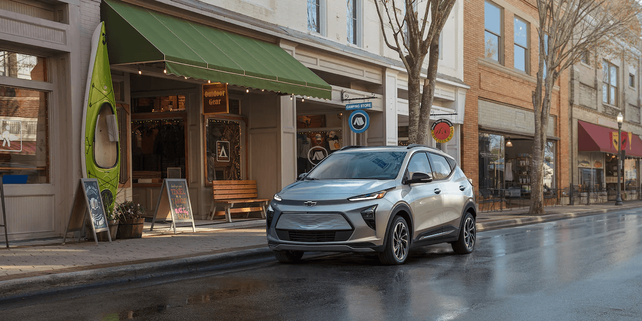 2022 Chevrolet Bolt EUV parked on a road.