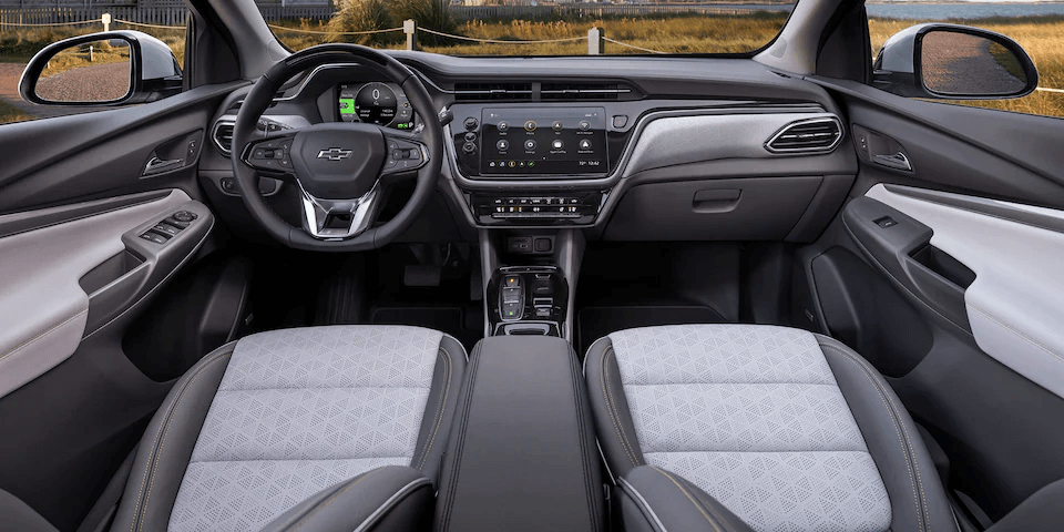 2022 Chevrolet Bolt EUV front interior seats and dashboard.