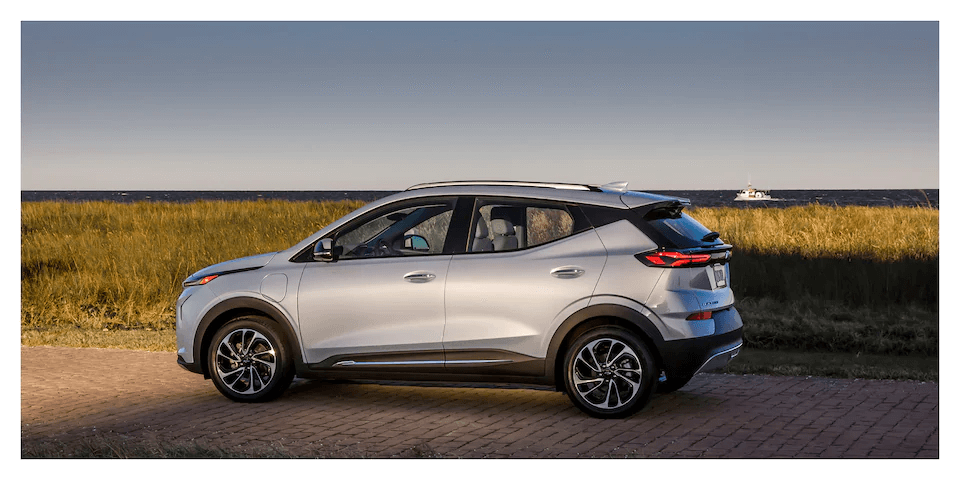 2022 Chevrolet Bolt EUV driving on the road.