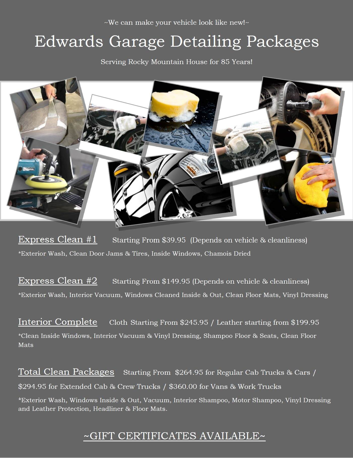 Edwards Garage Detailing Packages Additional Service