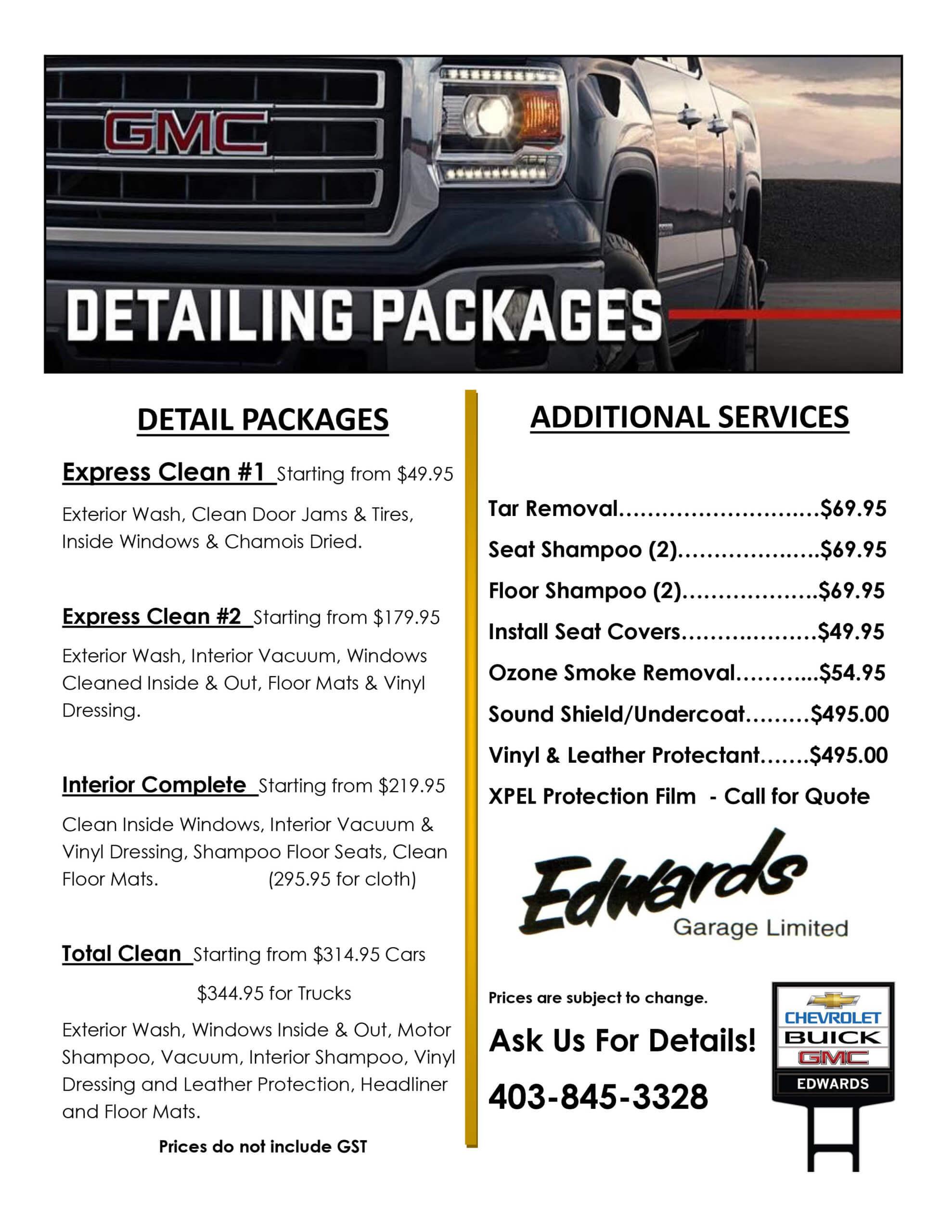 Edwards Garage Detailing Packages