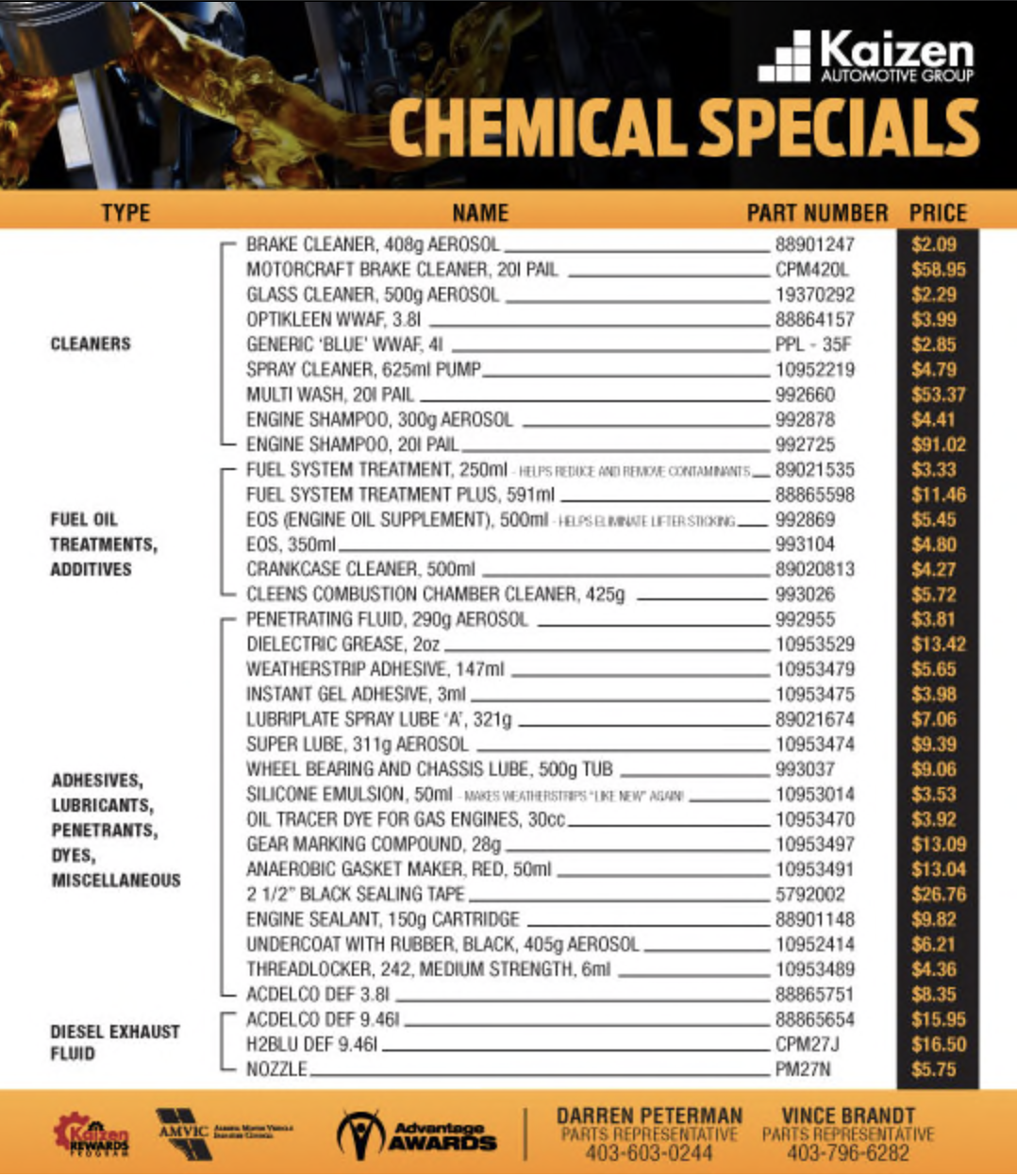 Chemical Specials