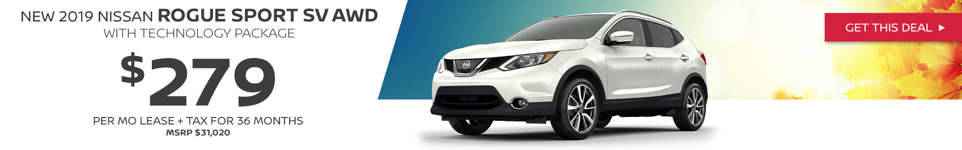 Nissan Rouge SV - Lease for $279