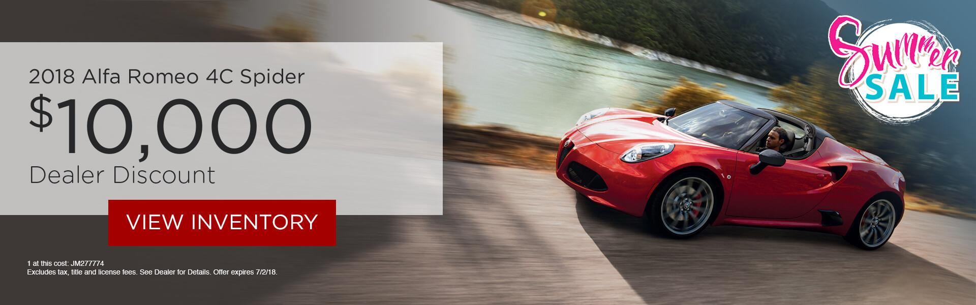 Alfa Romeo 4C Spider $10,000 Off