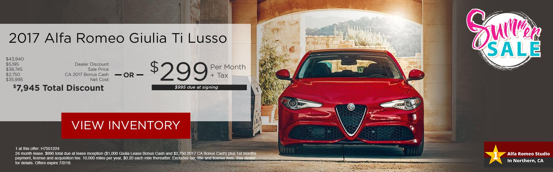 Alfa Romeo Giulia $299