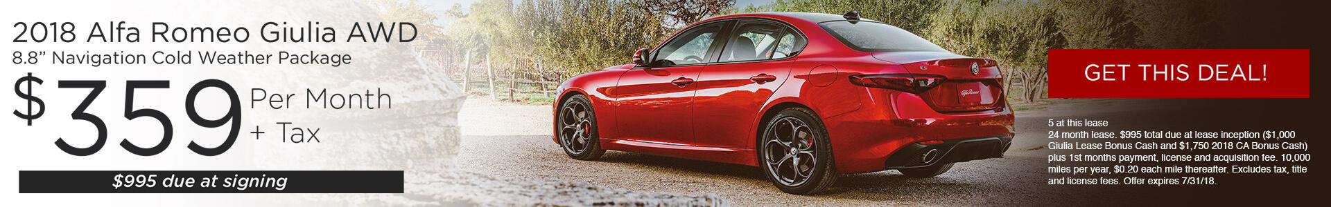 Alfa Romeo Giulia SRP $319