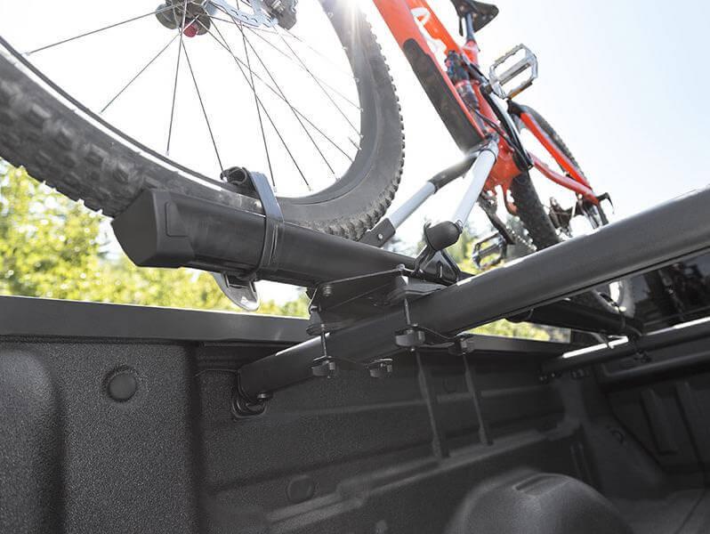 Truck bed mounted bike rack