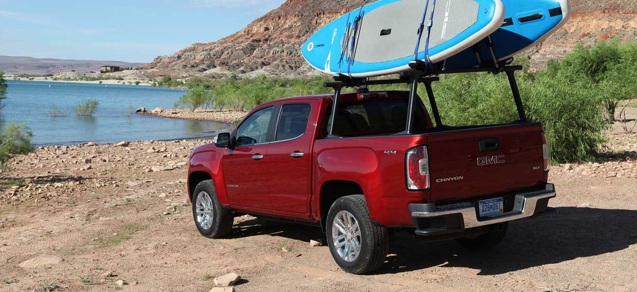 2020 GMC Canyon SLT at a lake in Alberta