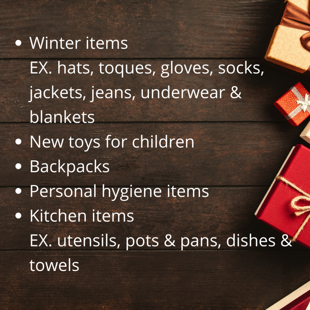 collection items: winter items; new toys; backpacks; personal hygiene items; kitchen items