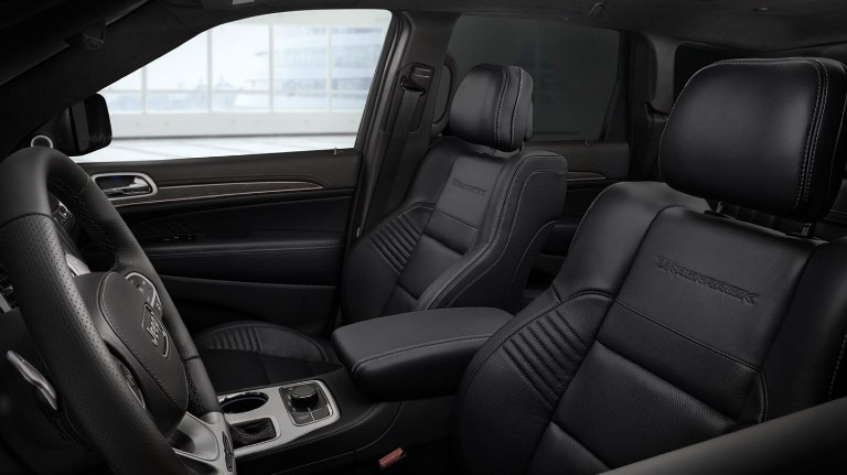 2020 Jeep Grand Cherokee Trackhawk interior shot of front leather seating upholstery row