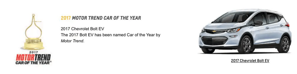 GM Awards 2017 Motor trend