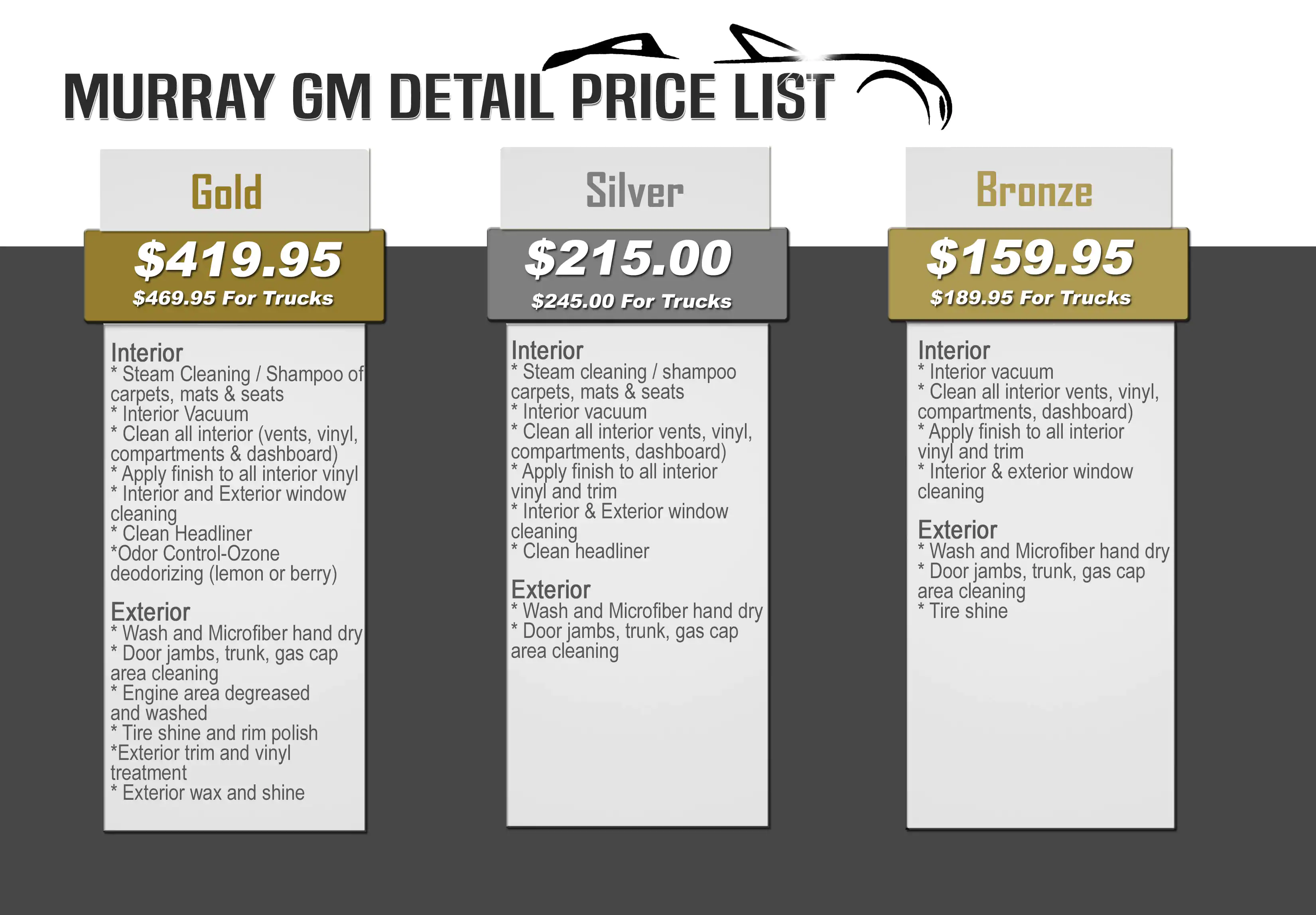Murray GM Detail Price List
