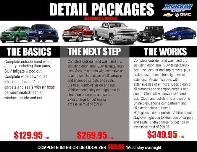 DETAIL PACKAGES – CALL TO BOOK APPOINTMENT!