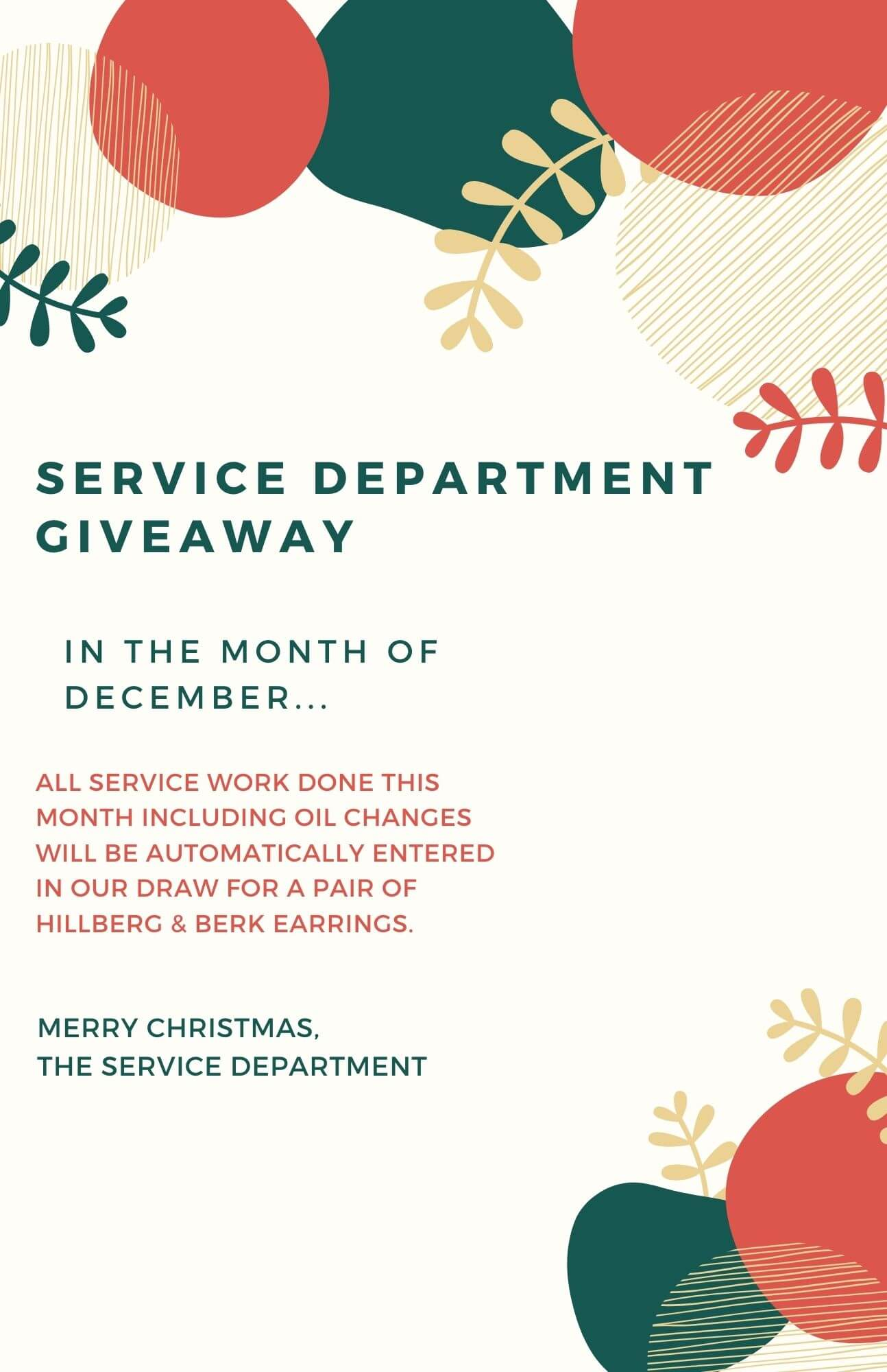 Service Department Giveaway