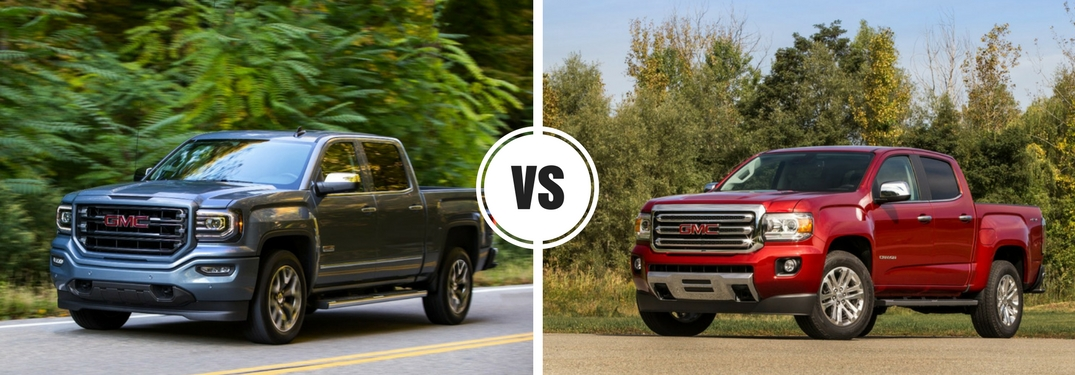 What are the differences between the 2017 GMC Sierra 1500 and GMC Canyon?