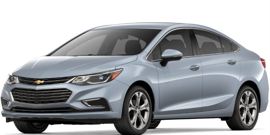 2018 chevrolet cruze in arctic blue metallic on white background