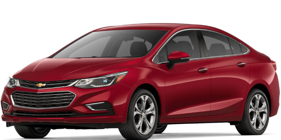 2018 Chevrolet Cruze in Cajun Red Tintcoat on white background