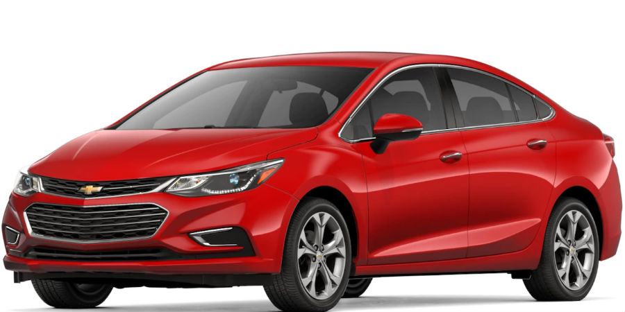 2018 chevrolet cruze in red hot on white background