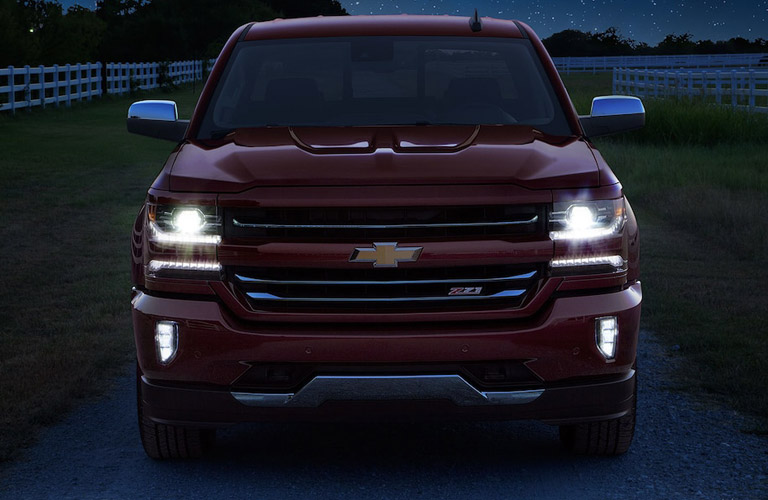 2018 Chevy Silverado with lights on