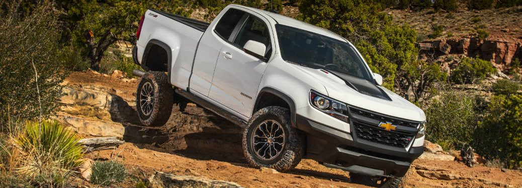 White 2018 Chevy Colorado ZR2 on a Rocky Trail