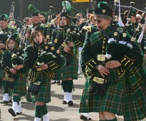 Irish bagpipers in a parade