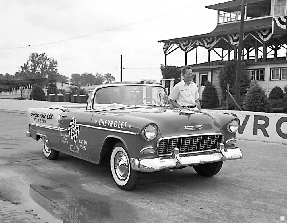 1955 Chevy Bel Air Sport Coupe serving as the first Chevrolet Indy 500 Pace car