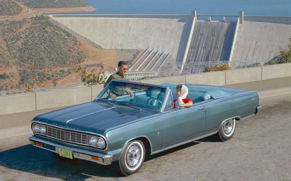 1964 Chevy Chevelle Malibu looking stylish by a dam