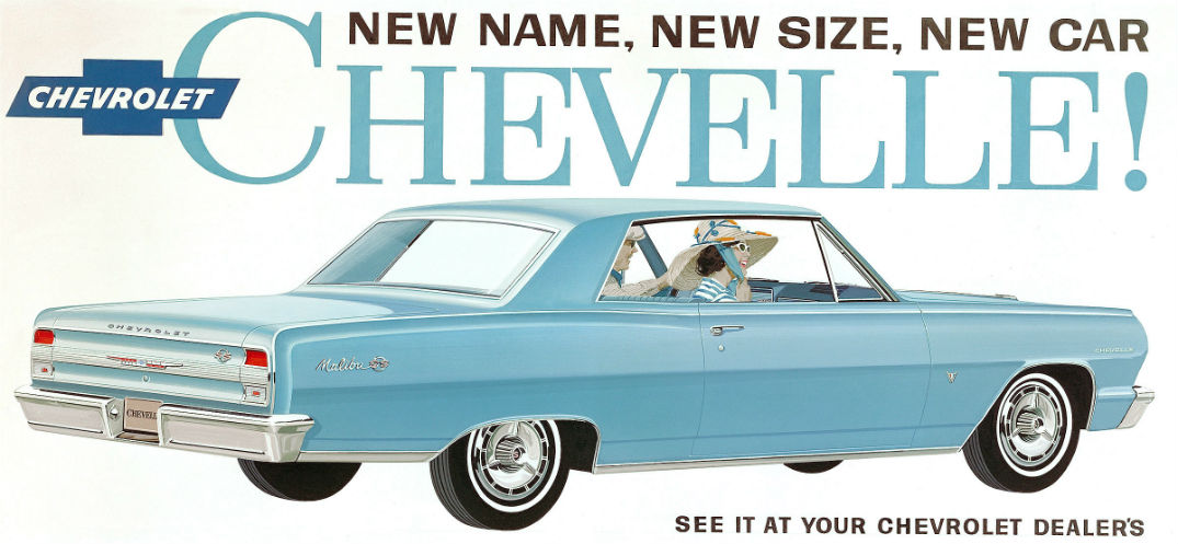 Ad for the 1964 Chevy Chevelle Malibu the first edition of the Malibu