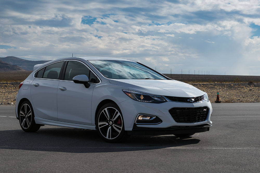 white Chevy Cruze Hatchback with performance parts