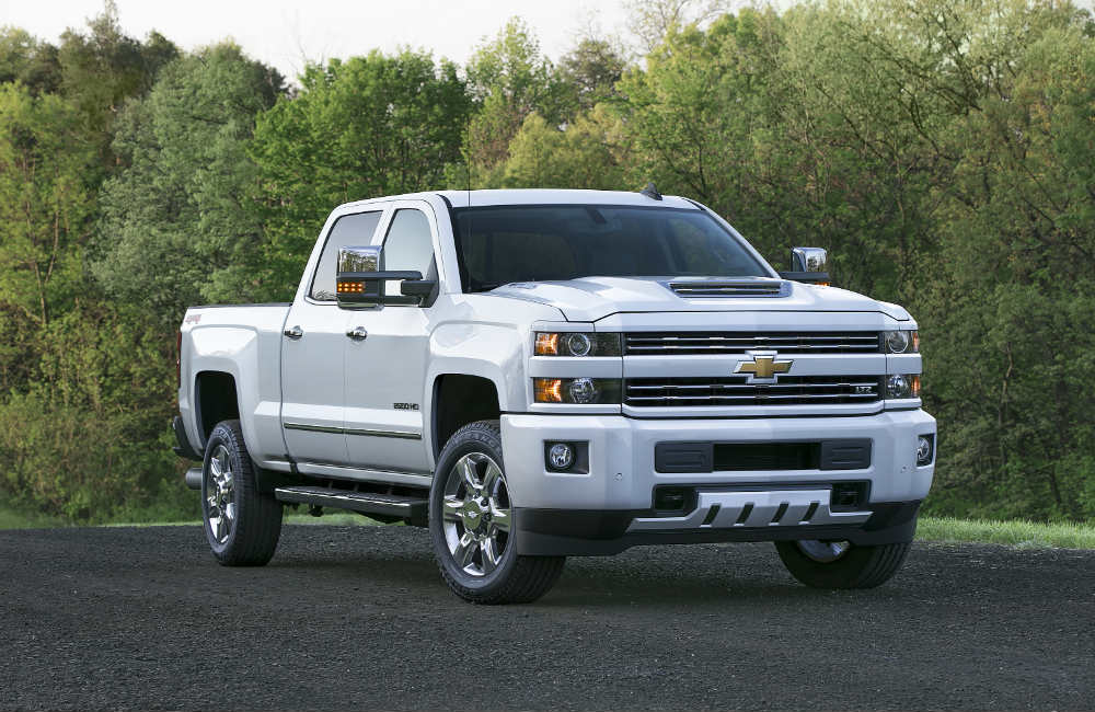 2017 Chevy Silverado HD in white looking confident