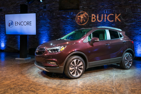 Black Cherry Metallic 2017 Buick Encore at the New York Auto Show