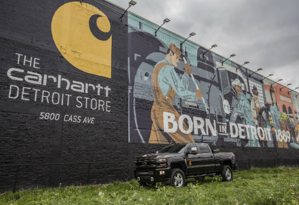 2017 Chevy Silverado 2500HD Carhartt concept in front of a Carhartt mural