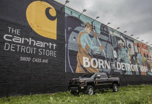 2017 Chevy Silverado 2500HD Carhartt concept in front of a Carhartt mural