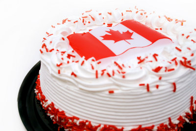 delicious cake decorated with the Canadian flag for Canada Day