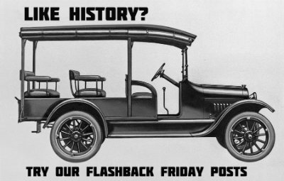 button with an old truck and the caption Like History? Try Our Flashback Friday Posts