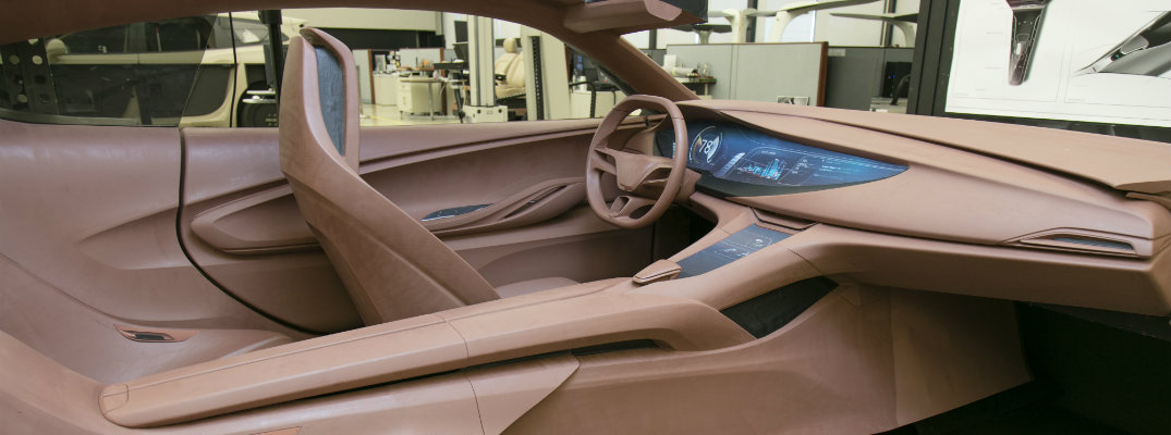 Clay-carved sample interior of the Buick Avista Concept car