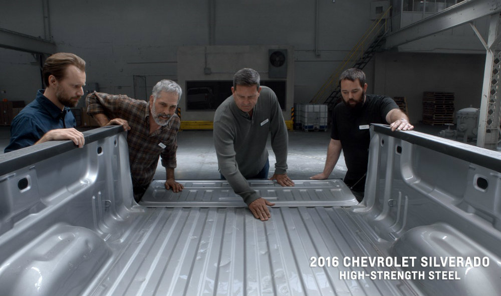 minor denting on the truck bed of the 2016 Chevy Silverado after impact testing