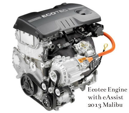 eAssist equipped engine on the 2013 Chevy Malibu