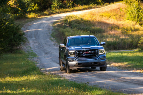 2016 GMC Sierra on the road