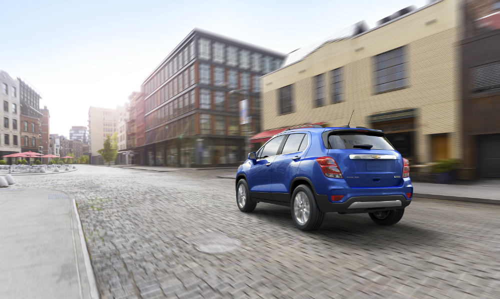 2017 Chevy Trax driving away with a new rear fascia