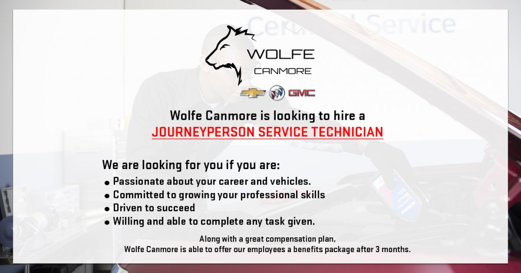 Wolfe Canmore is looking for a Journeyperson technician