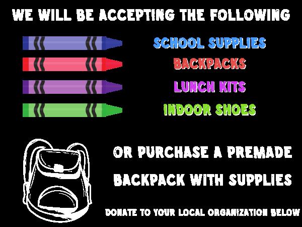 Back 2 School Drive donation items