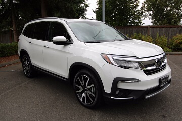 Exterior appearance of the 2021 Honda Pilot available at Midlands Honda