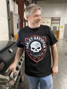 men's harley-davidson tee willie g skull black red