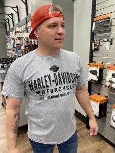 men's harley davidson tee gray bar and shield