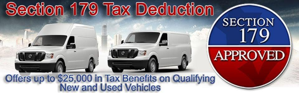 Section 179 Tax Deduction - Offers up to $25,000 in Tax Benefits on QUalifying New and Used Vehicles