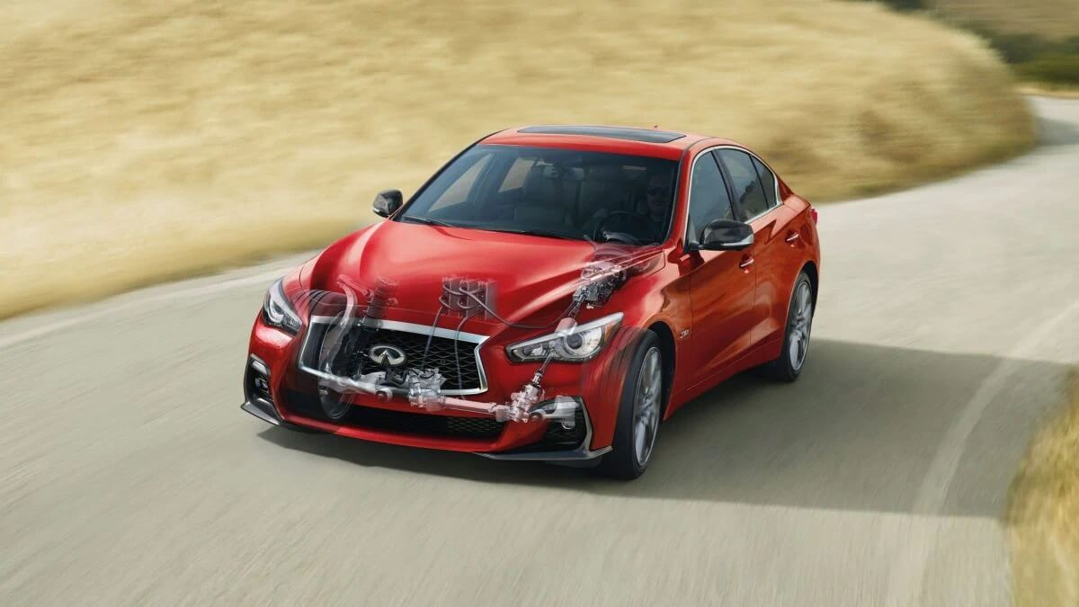 2021 Infiniti Q50 for sale with available auto folding outside mirrors at dealership