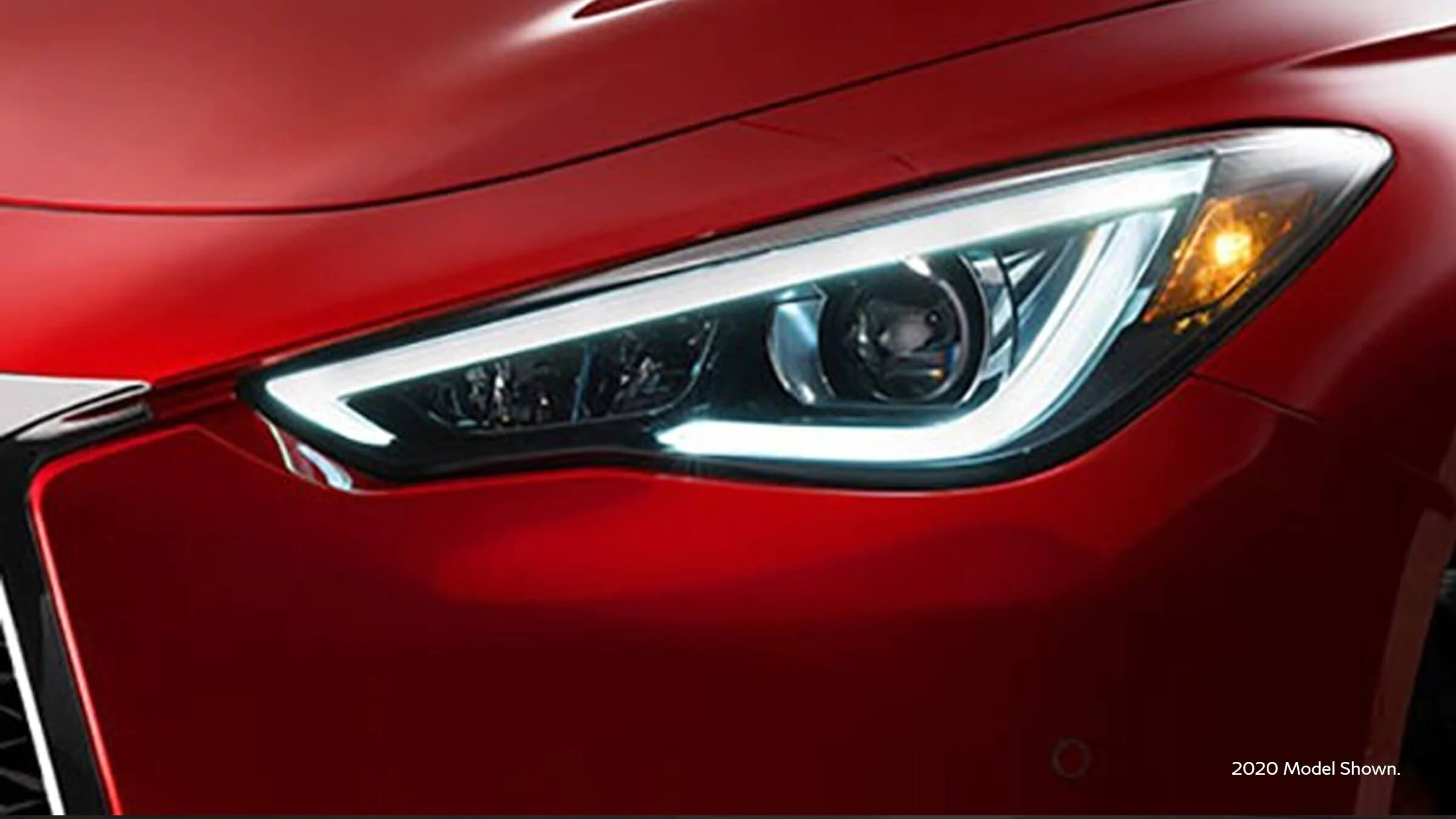 2021 Infiniti Q60 with eye inspired LED headlights